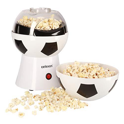 celexon SoccerPop SP10 Popcorn-Maschine - 20x20x29cm - Gewicht:1,2kg - weiß/Fußball-Design- ohne Öl/fettarm - Popcorn-Maker