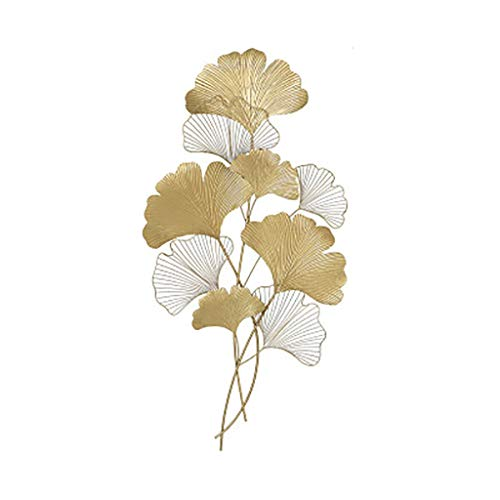 QBZS-YJ New Chinese Wrought Iron Mural Light Luxury Living Room Bedroom Entrance Ginkgo Leaf Wall Hanging Nordic Sofa Background Wall Decoration