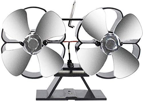 Yinglingqi-1 Dual-motor, 8 palen open haard ventilator hot verwarming milieuvriendelijke winterventilator aangedreven ventilator verwarming houtkachel voor geoptimaliseerde luchtverdeling, wit