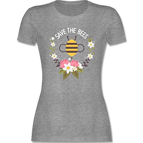 Sonstige Tiere - Save The Bees mit Blumen - S - Grau meliert - L191 - Damen Tshirt und Frauen T-Shirt