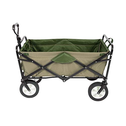 MacSports Heavy Duty Collapsible Outdoor Folding Wagon Portable Lightweight Utility Cart Adjustable Rolling Cart All Terrain Sports Wagon Beach Wagon (Taupe/Olive)