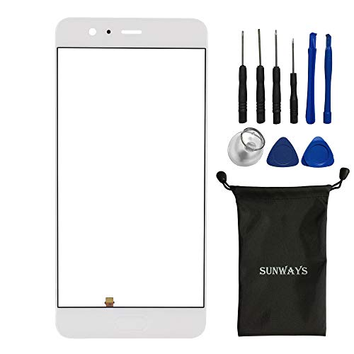 sunways Outer Glass Screen Replacement Compatible with Huawei P10 Plus VKY-L09 VKY-L29 VKY-AL00(White)