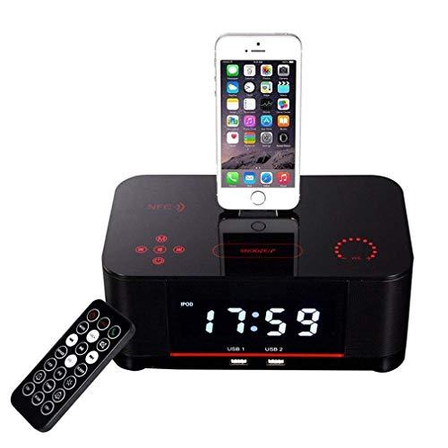 JIEGEGE LCD-Digital-FM-Radiowecker NFC-Bluetooth-Lautsprecher, FM-Radio, Schlummerfunktion, AUX-TF-Kartenspiel, Fernbedienung Für IPhone7 8 X Ipad Und Samsung