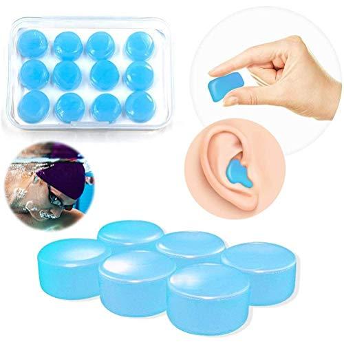 spier Tapones de silicona para los oídos con cancelación de ruido, impermeables, reutilizables, 12 unidades