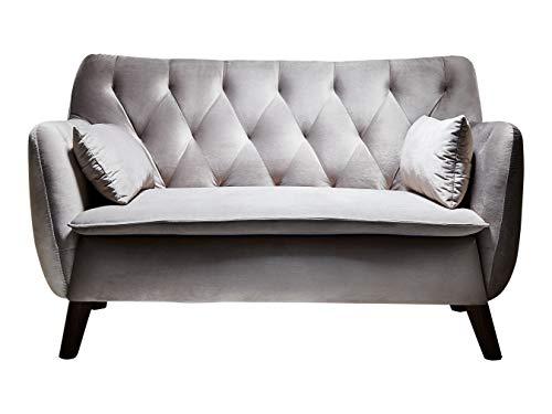 Atlantic Home Collection Sofa Janna, 2 Sitzer, Samt, Silber grau, 137x76x79 cm (BxTxH)