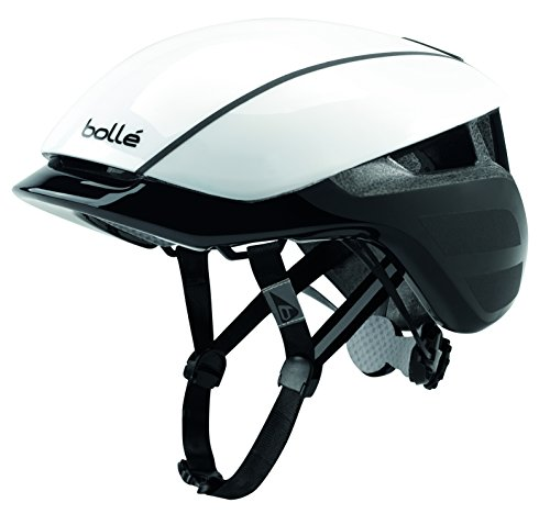 bollé Erwachsene Messenger Premium Cycling Helmets, White Black Shiny, Large 58-62 cm