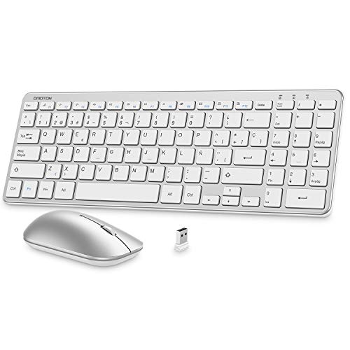 OMOTON Combo de Teclado y Ratón inalámbrico Español,Teclado Numérico Completo, Botones de Atajos,Ratón Silencioso, 2,4 GHz con Receptor USB para Windows/Desktop/PC/Laptop/Tableta-Plata