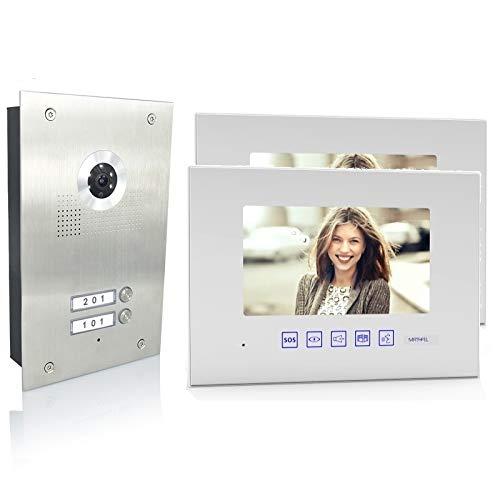 2 Familienhaus Video Türsprechanlage 7'' Monitor Kamera 170° Edelstahl, Monitore in Glas, Farbe: Ohne, Größe: 2x7'' Monitor weiß ohne WLAN Außenstation Silber