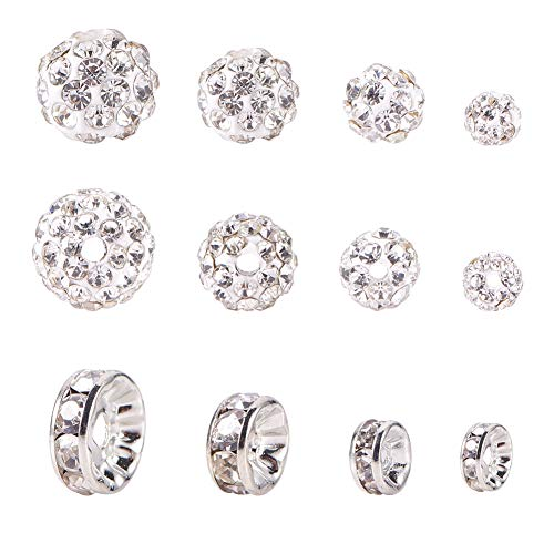 PandaHall 4 Size Crystal AB Shamballa Pave Disco Ball Clay Beads(40pcs) and 80pcs Silver Tone Crystal Rhinestone Spacer Beads for Earring Necklace Bracelets Jewelry Making