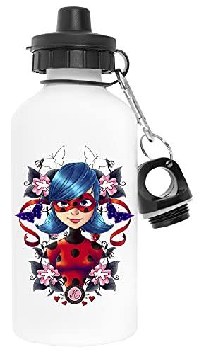 Coccinella Farfalla Floreale Bianca Bottiglia d'acqua Alluminio Gli Sport Viaggio All'aperto White Water Bottle Aluminium Sports Travel Outdoor
