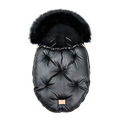 FlooForBaby 90x55cm Schlafsack für Kinderwagen oder Kinder Buggy Made in EU Warmes und Wasserdichtes Babyschale Baby Fußsack Schwarz