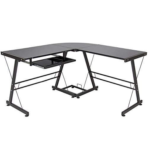 Best Choice Products L-Shape Computer Desk Workstation w/Tempered Glass Top, Tower Stand- Black
