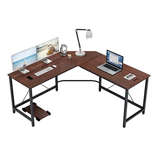 corner table for offices SogesGame 59 x 59 Inches Large L-Shaped Desk Corner Table Computer Desk Gaming Desk PC Laptop Home Office Desk, Walnut, ZJ02-WB-S8-US …
