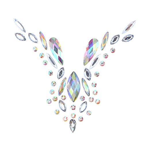 Fenical Diamant-Brust-Aufkleber-Kristallbrust-Pastete-Kunst-Acryl, das mit ungiftigem hinterem Kleber für Frauen-Karnevals-Partei haftet