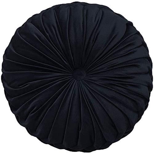YunNasi Coussin Rond en Velours Oreiller Plissé  pour Canapé Lit Chaise Sol Voiture Décoration (Noir)