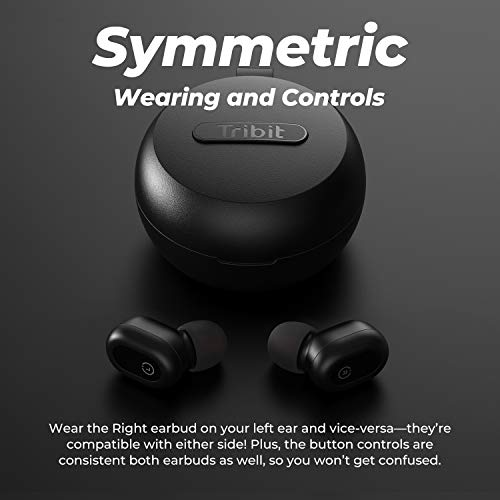 Tribit FlyBuds 1 Wireless Earbuds - 5.0 Bluetooth Earbuds IPX8 Waterproof Wireless Charging USB-C Stereo Sound Deep Bass 36H Playtime- True Wireless Earbuds with Mic for Running iPhone Android, Black