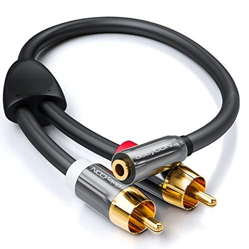 deleyCON 20cm Jack de Audio Estéreo a Adaptador RCA - 3,5mm Jack Hembra a 2X RCA Macho - Negro