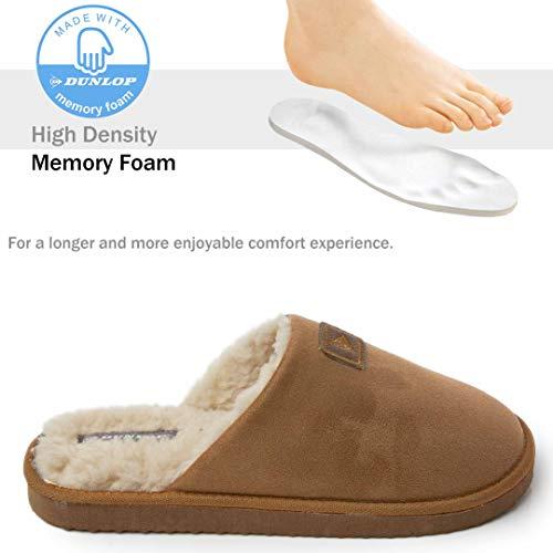 Dunlop Zapatillas Casa Hombre, Memory Foam Pantuflas Peluche Abiertas, Zapatillas De Estar En Casa Invierno Calientes Suela de Goma Dura Interior Exterior, Regalos para Hombre (44 EU, Marrón)