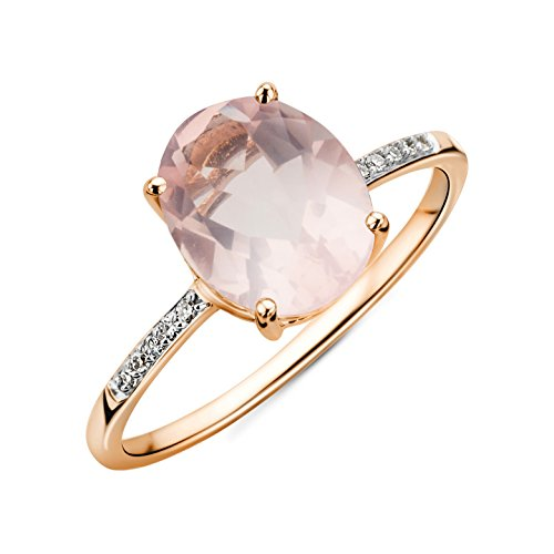 Miore ring for women in 9 kt 375 Rose Gold with pink Quartz of 2.52 ct and 0.04 ct Diamond ring for women in 9 kt 375 Rose Gold (N)