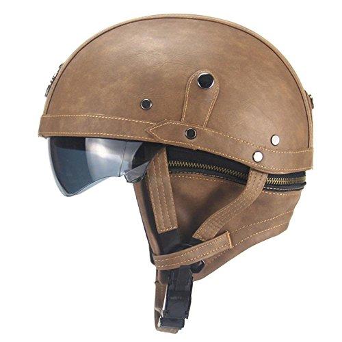 IrahdBowen Motorrad Helm Motorrad Helm Motorrad Helm Motorrad Leder Helm Retro Cruiser Helm Motorrad Leder Halb-Helm Sommer Pedal Motorrad Cruiser Leder Helm Vier Jahreszeiten Männer und Frauen