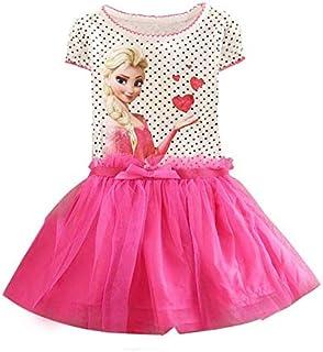 Elsa Anna Frozen Tutu Girls Baby Dress Pink Color 7-8 Years