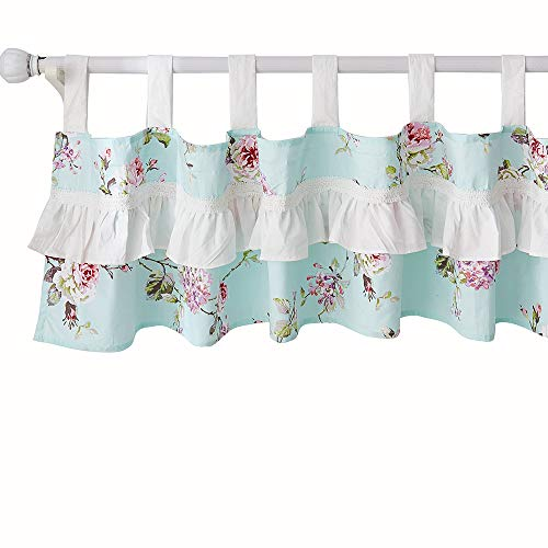 Brandream French Country Window Valance Cotton Curtain for Baby/Toddler/Kid Bedroom Bath Laundry Living Room, Ruffled Floral Printed, Blue-Green