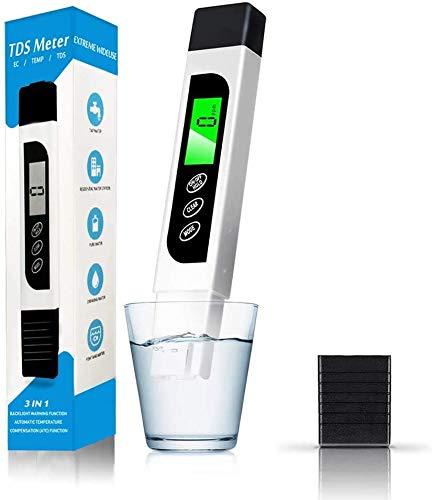 Probador de la calidad del agua, medidor de TDS exacto, pluma de prueba de temperatura del medidor EC con pantalla LCD retroiluminada para agua potable, hidroponía, piscinas, acuarios