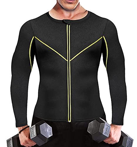 SEXYWG Traje de sauna para hombre chaleco de entrenamiento de neopreno pérdida de peso adelgazante traje de manga larga con cremallera, Negro, M