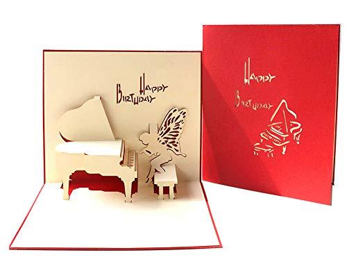 DEESOSPRO® 3D Pop Up [Geburtstagskarte] [Grußkarte] [Jubiläumskarte] [Abschlusskarte] mit Kreativem Papierschnittmuster, Geschenk für Geburtstag, Abschlussfeier, Weihnachten, Kindertag (Klavier)