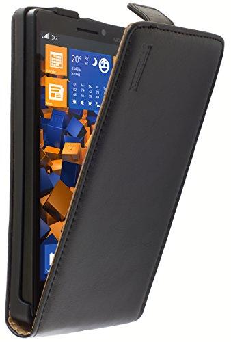 mumbi Echt Leder Flip Case kompatibel mit Nokia Lumia 930 Hülle Leder Tasche Case Wallet, schwarz
