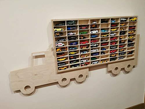 WoMa Kreativ Vitrine f mit 80 Fächern Setzkasten Hängevitrine für Modellautos Organizer Sammler für kleine Autos Spielzeug Aufbewahrung Hobby Wandregal Auto