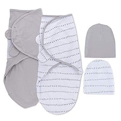 Petit Dreams Adjustable Swaddle and Beanie Set Jersey Knit Cotton for Baby Boy Or Baby Girl from 0-3 Months, Grey Dotted Stripes & Solid Grey, (Pack of 2)