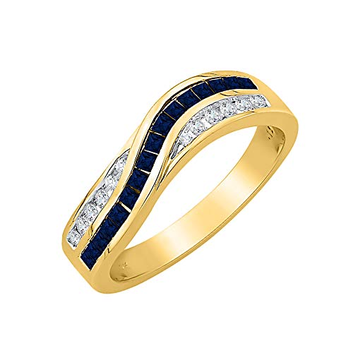 KATARINA Alianza de boda de zafiro de corte princesa y diamante en oro de 14 quilates (7/8 quilates, J-K, SI2-I1)
