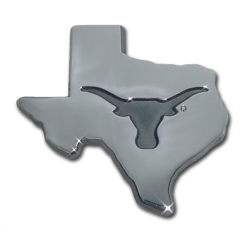 University of Texas Longhorns UTX Debossed State Logo 'Longhorn' Chrome Plated Premium Metal Car Truck Motorcycle NCAA College Sports Emblem