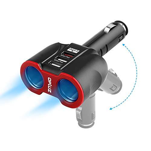Chargeur de voiture avec interrupteur, prise CC à 2 prises fusible intégré adaptateur allume-cigare + prise de voiture USB 2 ports Splitte avec interrupteur marche / arrêt
