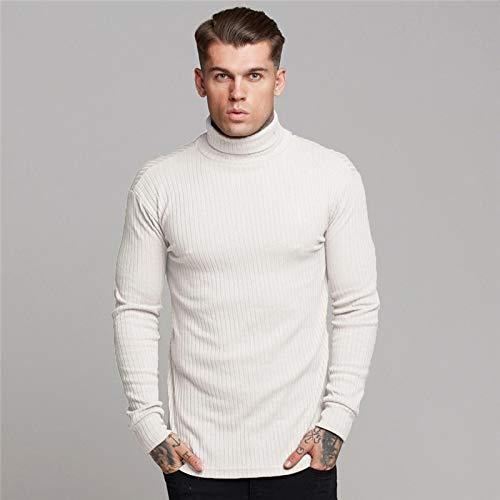 Suéter De Cuello Alto Informal De Marca para Hombre Jerseys De Estilo De Moda De Otoño Suéter Sólido Ajustado De Punto De Manga Completa De Punto XL Blanco