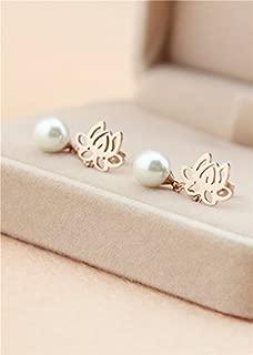 Creative Lotus Hanging Pearl Earrings earings Dangler Eardrop 14k Rose Gold Color Gold Tassel Fashion Flowers