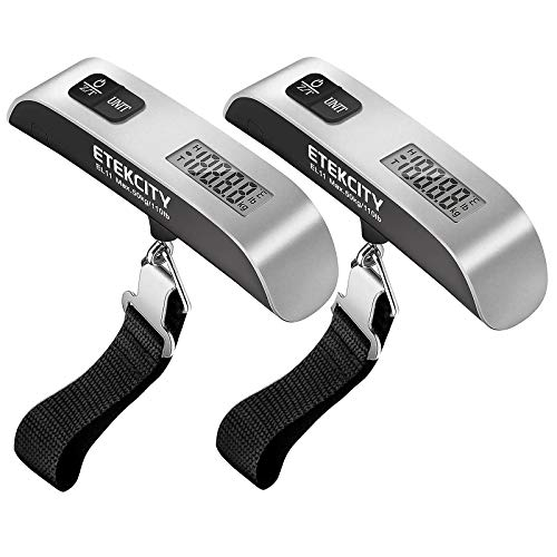 Etekcity Luggage Scale, Digital Portable Handheld Suitcase Weight for Travel with Rubber Paint, Temperature Sensor, 110 Pounds, Battery Included, 2 Pack