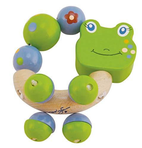 BIECO 44021011 Figure hochet Froggy, en forme d'anneau de bois avec hochet Froggy la grenouille, saisir hochet pour bébé, de la naissance, vert