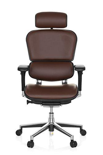 hjh OFFICE 652252 Chefsessel ERGOHUMAN Echtes Leder Braun hochwertiger Bürodrehstuhl mit Vollausstattung