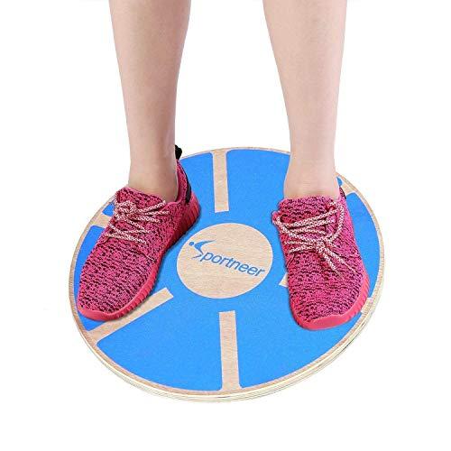 Sportneer Wackelbrett Balance Board Holz Durchmesser 40cm Gleichgewicht Board- professionel für die Übung, Gym, Sport Performance Enhancement, Rehab, Ausbildung(1PACK) (blau2)