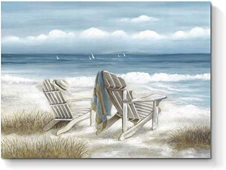 Abstract Seascape Canvas Wall Art Beach Chair on Sand Painting Print for Bedroom 24 x 18 x 1 product image