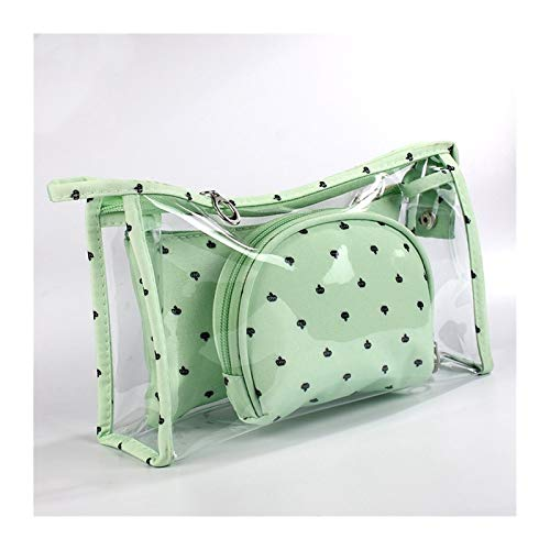 Kfdzsw Bolso Cosmético 3 PC/Sistema Nueva Bolsa de Cosméticos Las Mujeres Constituyen el Recorrido del Bolso Impermeable Portable del Maquillaje Bolsa de Aseo Kits de PVC (Color : Green)