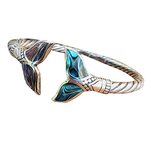 Brazalete de concha de abulón y cola de sirena plateada, cadena de mano abierta ajustable, joyería duradera de estilo marino, regalo de San Valentín para niña