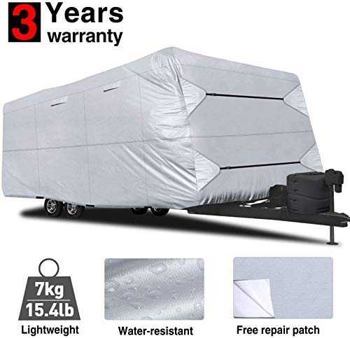 RVMasking Waterproof Travel Trailer RV Cover 22'1'-24' with Free Adhesive Repair Patch & 4 pcs Windproof Strap, Easy Set Up & Durable Camper Cover