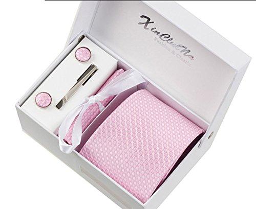 S.R HOME Cercle rose Ensemble Cravate étanche d'homme Mouchoir épingle et boutons de manchette coffret cadeau