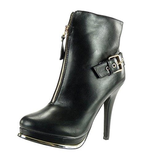 Angkorly - Damen Schuhe Stiefeletten - Plateauschuhe - Sexy - Stiletto - Reißverschluss - Schleife - golden Stiletto high Heel 12.5 cm - Schwarz G200-3 T 40