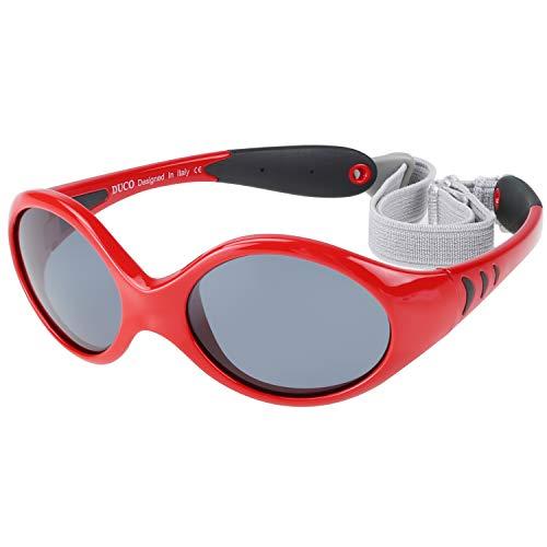 DUCO Kinder Sonnenbrille Polarisierte Sportbrille TPEE Flexibeles Gestell für Baby Mädchen oder Junge 0-24 Monate K012 (Rot)
