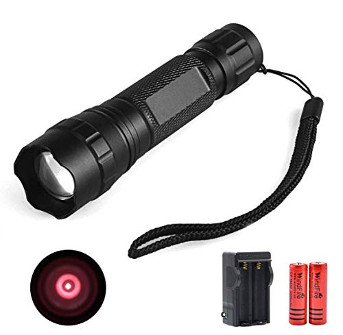 IR 940nm LED Hunting Tactical Flashlight Infrared Illuminator Rechargeable Zoomable Flashlights Waterproof Night Vision Camera Device Torch Kit for Hunting Coyote Hog Predator Thermal Pig Fox Rat