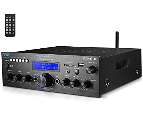 Pyle PDA6BU - Sistema di amplificazione wireless Bluetooth – 200 W a doppio canale audio stereo con USB, SD, AUX, MIC IN con Echo, Radio, LCD, per Home Theater Entertainment via RCA, uso in studio